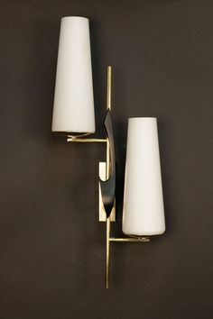 Pair of 1950s Asymmetrical Sconces by Maison Arlus | From a unique collection of antique and modern wall lights and sconces at https://www.1stdibs.com/furniture/lighting/sconces-wall-lights/ #WallLamp