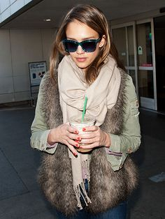 Jessica Alba always looks great - love the layering with that vest!