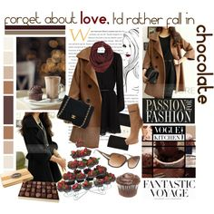 Chocolate by minty-sea on Polyvore featuring polyvore, fashion, style, MANGO, Falke, MICHAEL Michael Kors, Chanel, Paula Bianco, Bebe and Wilton