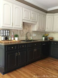Paint For Kitchen black and white kitchen cabinet painting ideas 600x839 creative