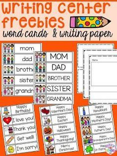 Writing center freebies perfect for preschool, pre-k, and kindergarten (family word cards, event word cards, and fancy writing paper) writing center Writing Center Kindergarten, 1st Grade Writing, Kindergarten Centers, Kindergarten Literacy, Teaching Writing, Literacy Centers, Teaching Ideas, Kindergarten Morning Work, Fancy Writing