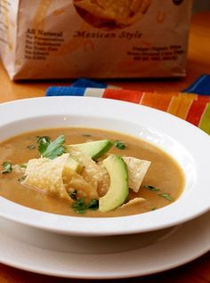 TESTED & PERFECTED RECIPE – This tortilla soup is a silky mix of vegetables, tortillas & spices with tender chunks of grilled chicken mixed in.