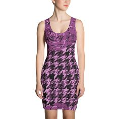 Pink and Black Houndstooth Print - Fitted Dress - DogzPrinted