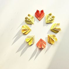 Rabbit hearts. The colours of spring and some sun positivity!  Origami design by Leyla Torres folded by me. Enjoy your Thursday evening! by wenlise_fold