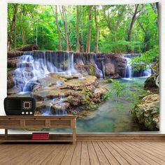 Wall Hanging Forest Stream Landscape Tapestry -