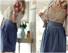 high wasted denim and sequin top with sweater:) Skirt Tutorial, Sequin Top, Office Fashion, Dress Skirt, High Waisted Skirt, Waist Skirt, Cool Outfits, Sequins, Couture