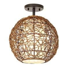 Organic Contemporary Rattan Ceiling Fixture $79.99 for family room or study?
