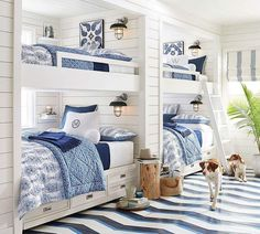 Built-in bunks, drawers under, small shelf on inside wall for drink/book, painted wood floors - Avalon Indoor/Outdoor Sconce Bunk Bed Rooms, Bunk Beds Built In, Kids Bunk Beds, Twin Beds, Home Bedroom, Bedroom Decor, Kids Bedroom, Bedroom Ideas, Guy Bedroom