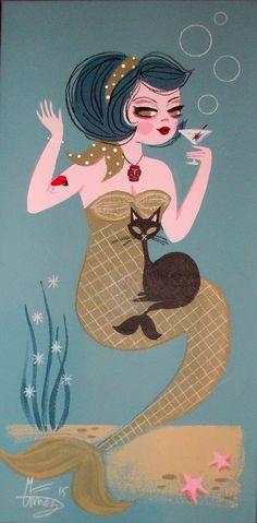 EL GATO GOMEZ PAINTING RETRO 50S KITSCHY MERMAID PINUP GIRL CAT MARTINI COCKTAIL in Paintings | eBay