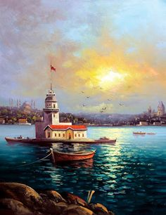 visual result related to oil paintings Nilgün Aydın Dönmez Oil Painting Pictures, Art Pictures, Boat Painting, Painting & Drawing, Turkey Painting, Lighthouse Painting, Z Arts, Beautiful Landscapes, Landscape Paintings