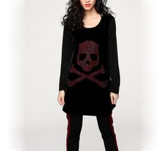 Women Black Red Gemstone Skull Tops/Loose Fit Plus by MordenMiss Loose Sweater, Cotton Sweater, Red Gemstones, Workout Attire, Plus Size T Shirts, Women's Fashion Dresses, Plus Size Fashion, Cool Outfits, Sweaters For Women