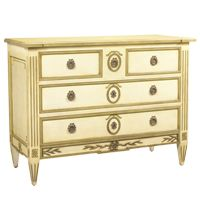 SEIZIEME CHEST . classic Louis XVI form . MAPLE AND MAHOGANY . Ivory With Taupe Accents Finish