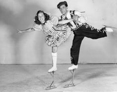 Phyllis and Harris Legg perform on Extendo-Skates c.1948