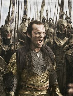 The Last Alliance of Elves and Men. Elrond puts on his scary face....