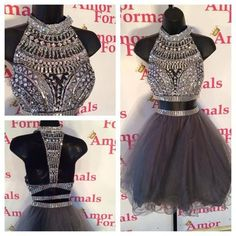 Wholesale Prom Dresses - Buy Hot Sale Grey See Through Prom Dresses Two Piece Short Design Dress Sexy Crew Sleveless A Line Crystal Beads Tulle Homecoming Party Dresses, $90.79 | DHgate #shortpromdresses