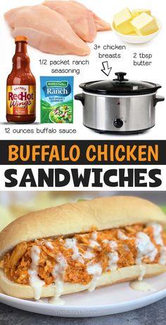 Buffalo Chicken Sandwiches, Shredded Buffalo Chicken, Shredded Chicken Sandwiches, Chicken Sandwich Recipes, Chicken Sandwhich, Cheap Chicken Recipes, Turkey Recipes, Crock Pot Food, Crockpot Dishes