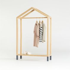Natural and Black House Shaped Garment Rack | 1000