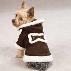 Hooded Sherpa Dog Jacket - Chocolate