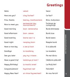 Learn how to greet in the Romanian language! Tip: Use the transliteration (in red) to perfect your pronunciation.