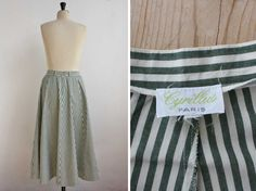 Boho French Stripped Peasant Skirt Long Full by JeannetteVintage Peasant Skirt, Dress Skirt, Pretty Sandals, White Tank, Green Colors, Parisian, Preppy, Vintage Outfits, French