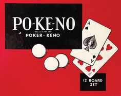 "Vintage"" Po-Ke-No "" Poker Keno Pokeno Game with 12 Boards & Red Chips Family Card Bingo Antique Retro Collectable U.S. Playing Card Company"