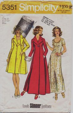 Vintage 70s Simplicity Pattern 5351 Womens Look by CloesCloset, $28.00