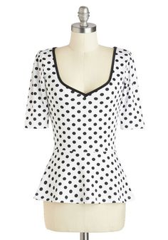 Giddy City Top - Mid-length, White, Black, Polka Dots, Vintage Inspired, Peplum, 3/4 Sleeve, Sweetheart, Party, Rockabilly, Pinup, 40s, 50s