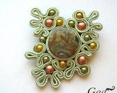 "Beautiful bezel—Soutache brooch ""Green Dream"""