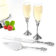Personalized Wedding Cake Knife and Server Champagne Flutes Set Engraved Purchase now at SoCuteInc.com