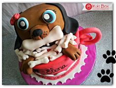 Kuki Box. Tartas y Galletas en Valencia: TARTA PERRITO LITTLE PEPSHOP www.kukibox.com #tarta #cake #fondant #rosa #pink #petshop #perro