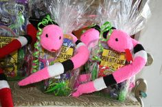 Up close picture of the party favors for the Reptile party. These are for the girls. All came from the dollar store. Turned out great. Reptiles, Reptile Party, 6th Birthday Parties, Dollar Stores, Party Favors, Put, Quelque Chose, Christmas Ornaments, Holiday Decor