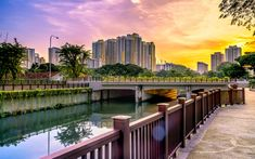 Download wallpapers Singapore, eveining, modern buildings, canal, Asia