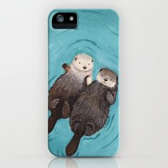 Otterly Romantic - Otters Holding Hands iPhone & iPod Case by When Guinea Pigs Fly - $35.00