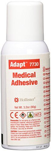 Hollister Medical Adhesive, 3.2 Ounce, HOL7730  Product has features that would be most appropriate for home care  Easy to use; spray allows application directly to appliance prior to application to skin  Medical grade silicone adhesive is unaffected by moisture; Can be used on sensitive skin; Allows skin to breathe