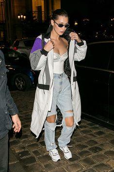 Model Bella Hadid hit the streets of Paris in distressed denim in January. Gigi Vogue, Image Fashion, Dior, Babe, American Music Awards, Paris Street, Bella Hadid, Distressed Denim, Fashion Watches
