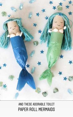 Toilet Roll Crafts: Hula Girl and Mermaid - knitting is as easy as 3 .Toilet Roll Crafts: Hula Girl and Mermaid - knitting is as easy as 3 Knitting boils down Kids Crafts, Craft Activities For Kids, Easy Diy Crafts, Summer Crafts, Cute Crafts, Toddler Crafts, Preschool Crafts, Toddler Activities, Projects For Kids