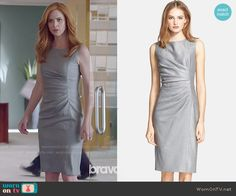 Donna's grey dress with side ruching on Suits.  Outfit Details: http://wornontv.net/50212/ #Suits