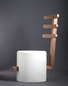 Easy stool-chair, designed by George Bonaguro made of wood and composite material
