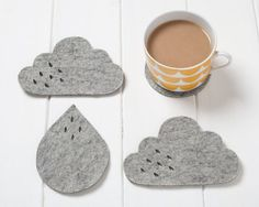 Wool-felt cloud coasters brighten up a gray day. #etsy
