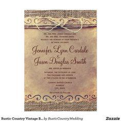 Rustic Country Vintage Burlap Wedding Invitations. #country #wedding #rustic