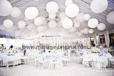 Pour apporter un certain charme a vos plafonds, ou bien a votre décoration de chapiteau, le lampion rond en papier de riz est idéal.