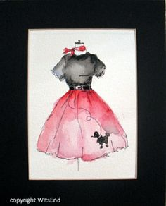 """BACK IN THE DAY'. Poodle Skirt painting original watercolor retro 50s fashion by 4WitsEnd, via Etsy"