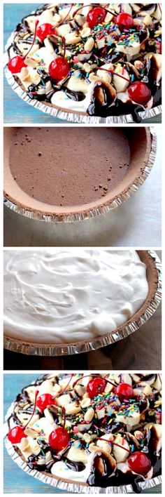 NO-BAKE BANANA SPLIT PIE BUCKET LIST! Build a fort in my living room with my handsome man and eat this... Yup