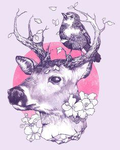 bird and deer