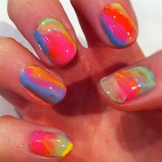 My summer multi coloured crazy nails today!