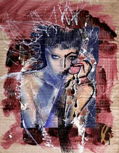 Woman crying 2009, mixed media on cardboard,28x38 cm -ON SALE- For info and Price, please Contact Matteo: info@puzzlefirenze.it