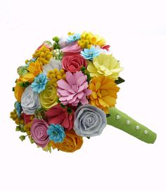 "paper flower bouquets-- would be really cute for bridesmaids-- in blue, white & ""natural"" like our wedding colors"