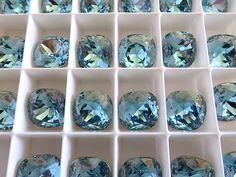 4 Aqua Champagne Swarovski Crystal Square Cushion Cut  Stone 4470 12mm #Swarovski #chaton