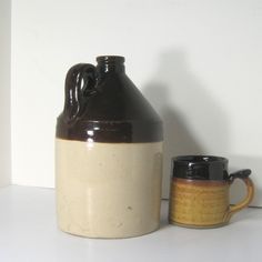 Vintage Stoneware Jug by New Brighton, PA Pottery.