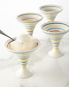 These unique bowls make stripes a fun accent for your sweet treat! #iceCream #stripes